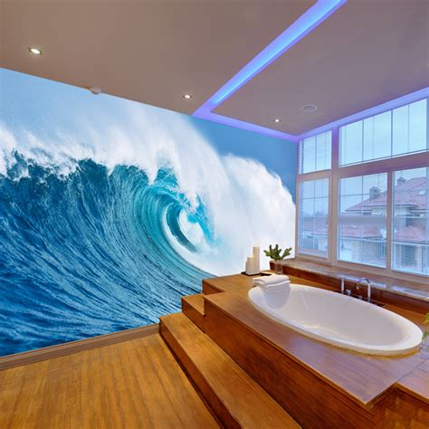 giant ocean wave wall mural blue seascape photo wallpaper