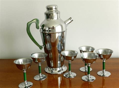 Vintage Cocktail Barware Pitcher Chrome Martini Set Emerald