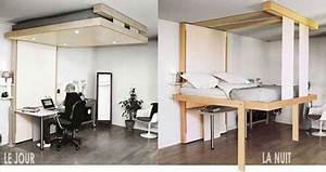 Lit Au Plafond Electrique : chambre coucher le lit au plafond ou la solution gain ~ Premium-room.com Idées de Décoration