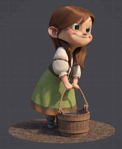Character 3d Cartoon Gretel Guzz Soares Concept