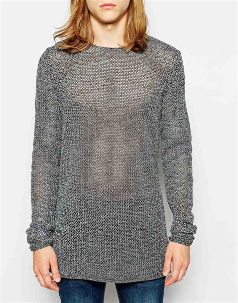 mesh sweater asos longline mesh sweater in gray for grey lyst