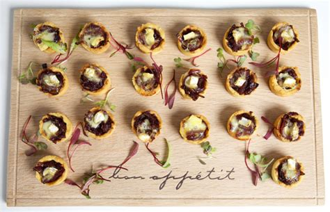filo pastry cases canapes canapés ideas mini caramelised and brie tartlets