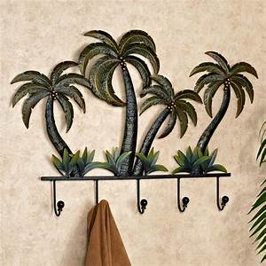 palm tree tropical metal wall hook rack With kitchen cabinets lowes with metal wall art palm trees