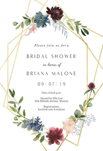 geometric flowers bridal shower invitation template   island