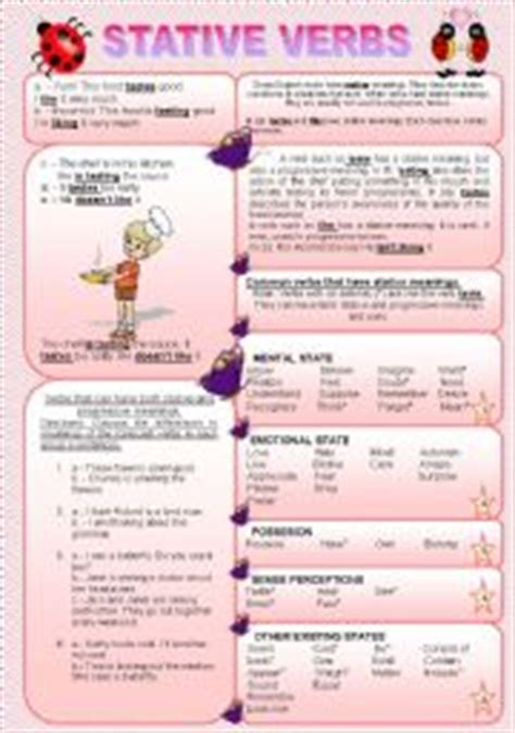 english teaching worksheets stative verbs