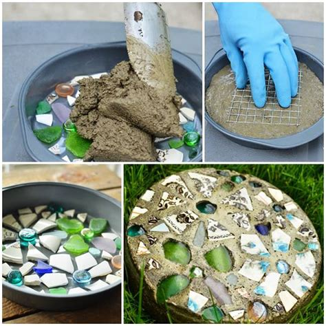 diy stepping stones with cake pan beesdiy