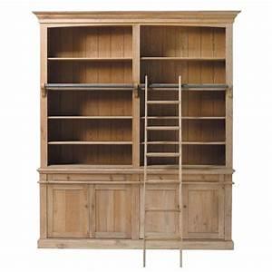 bibliotheque en chene massif l 200 cm atelier maisons du With bibliotheque meuble maison du monde
