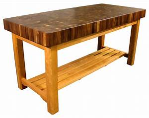 Walnut Butcher Block Chopping Table with Cherry Base