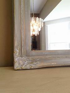 on, hold, gray, chalk, paint, gold, wood, frame, shabby, chic, wall