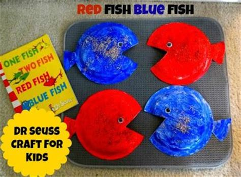 dr seuss crafts  kids red fish blue fish paper plate
