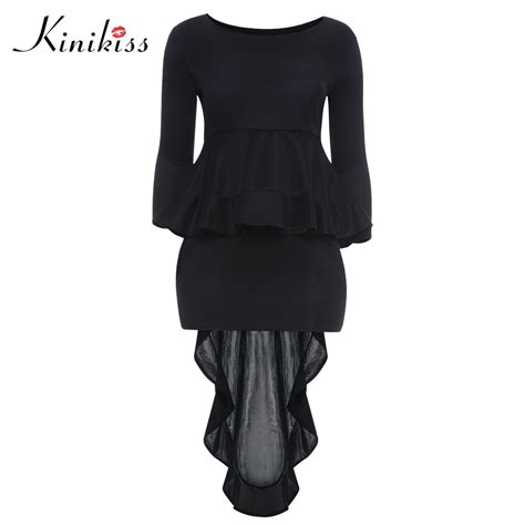 Plus Size Dress Women Evening Party Long Sleeve High Low