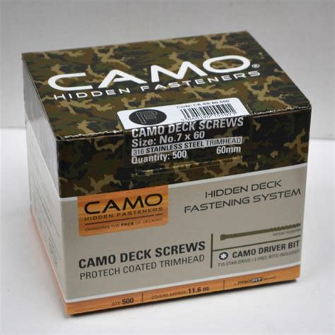 Camo Deck Fasteners Uk by 60mm Camo Pack Of 500 Stainless Steel Deck Screws With 1