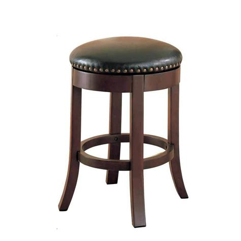 pc casual  wood walnut  swivel bar stool nailhead