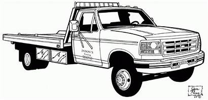 Coloring Truck Printable Tow Clip Clipart Pages