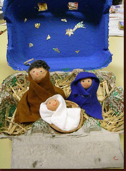krippe basteln kinder weihnachten im eierkarten in an egg box nativity eierkarton basteln weihnachten
