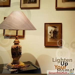table lamp made out of brass porcelain and a raw silk With table lamp price in sri lanka
