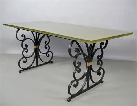 wrought iron and glass dining table 1940s wrought iron and glass top dining table at 1stdibs