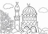 Coloring Mosque Pages Muslims Mosques Islamic Colouring Islam Coloriage Template sketch template