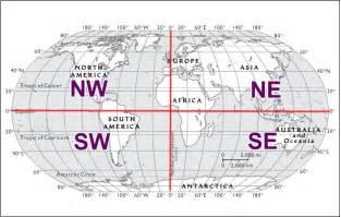 Map with Latitude and Longitude Hemispheres