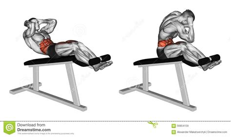 abdos chaise romaine exercising twisting to turn on the chair stock