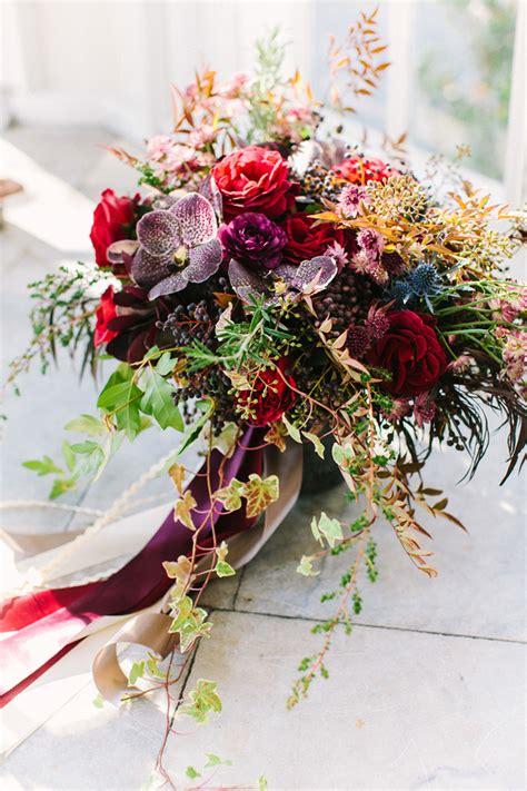 Wildly Beautiful Jewel Toned Winter Wedding Bouquet Mon