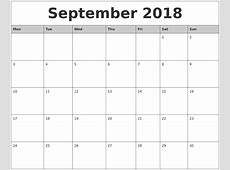 September 2018 Monthly Calendar Printable