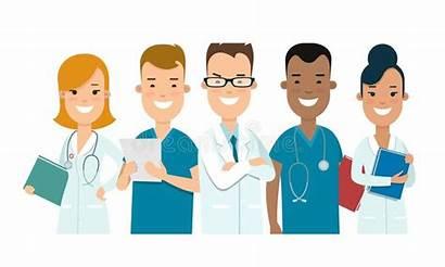 Team Medical Nurses Female Male Doctors Cartoon
