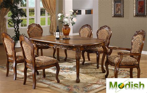 7 pc luxury solid wood carving dining table chair set