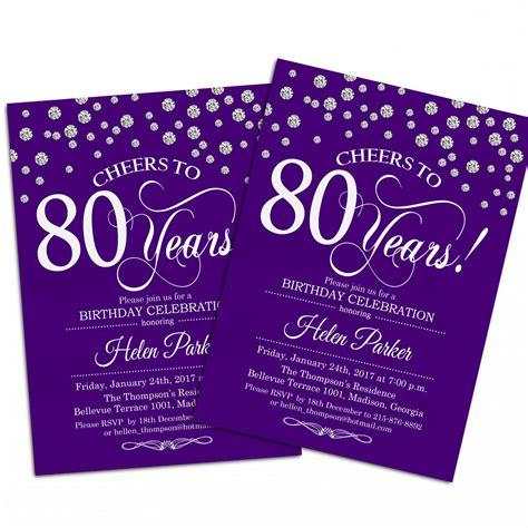 80th Birthday Invitation / 90th / Any Age / Purple