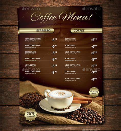 The cafe menu templates are. 22+ Coffee Menu Templates - Free PSD, EPS, Illustrator PNG Downloads