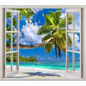 Image Trompe L Oeil : sticker fen tre trompe l 39 oeil plage palmier r f 5441 ~ Melissatoandfro.com Idées de Décoration