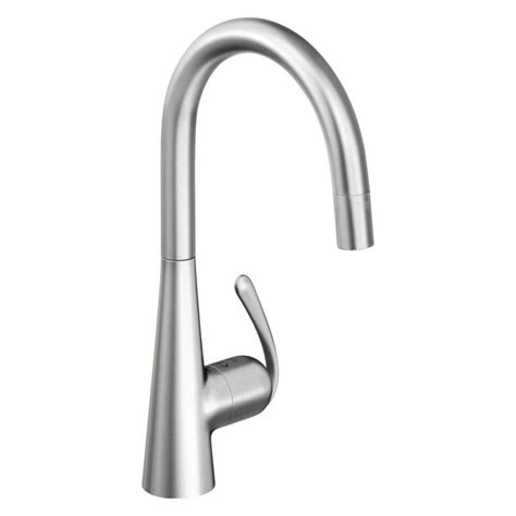 stainless steel kitchen faucet shop grohe ladylux stainless steel 1 handle pull deck