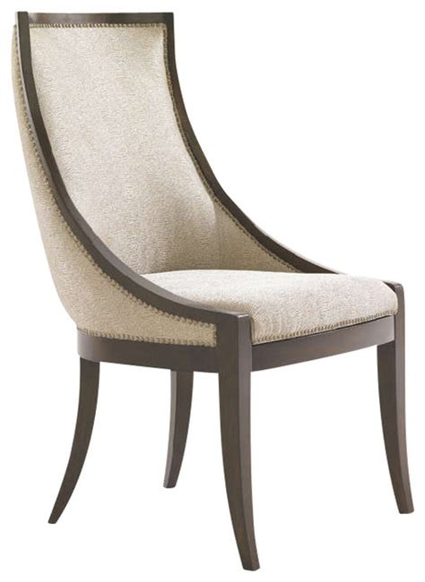 talbott upholstered host chair in walnut brown arlington