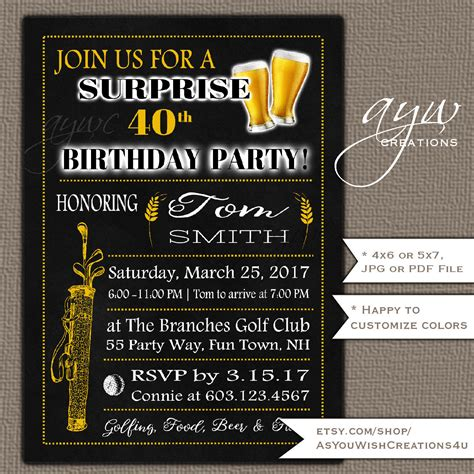 40th Birthday Party Invitation for Men's Birthday Party Etsy