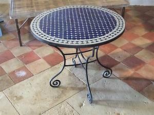 Table Mosaique Fer Forgé : table ronde en fer forg et mosa que type marocain bca ~ Dailycaller-alerts.com Idées de Décoration