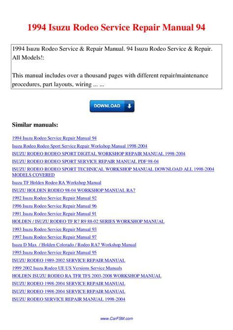 free download parts manuals 1992 chevrolet g series g20 regenerative braking 1994 isuzu rodeo service repair manual 94 by nana hong issuu