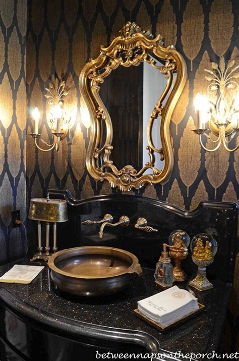 black and gold room decor home decor on pinterest vanities blue and white and dining rooms