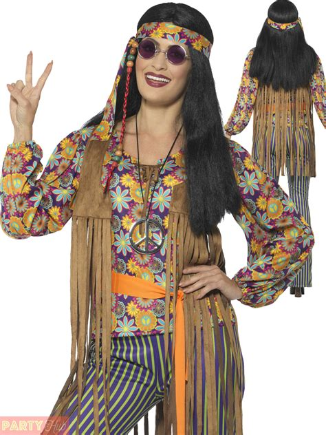 Adults 60s 70s Hippie Costume Mens Ladies Hippy Fancy Dress Womens Retro Outfit   eBay