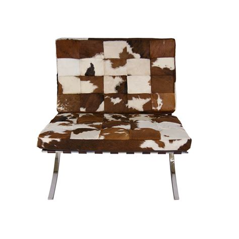 pavilion chair with brown and white cowhide a modern world