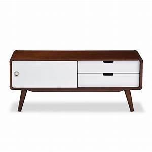 Baxton Studio Armani White And Medium Brown Wood Finished