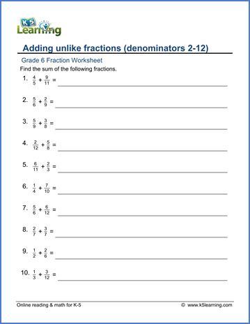 grade 6 math worksheet fractions adding unlike fractions denominators 2 12 k5 learning