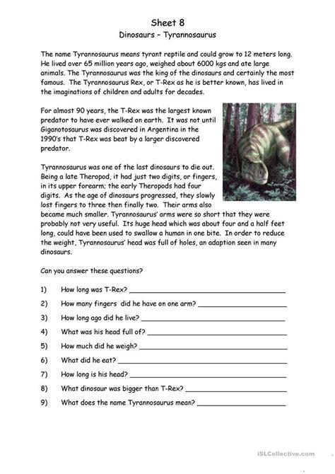 reading comprehension worksheet dinosaurs 18 free esl dinosaurs worksheets