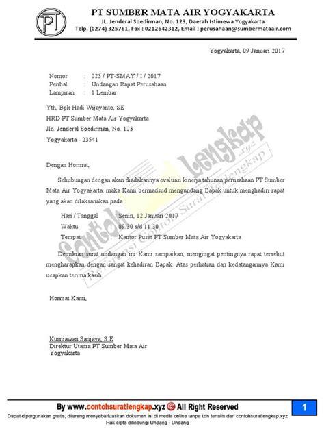 contoh surat undangan resmi perusahaan  rapat