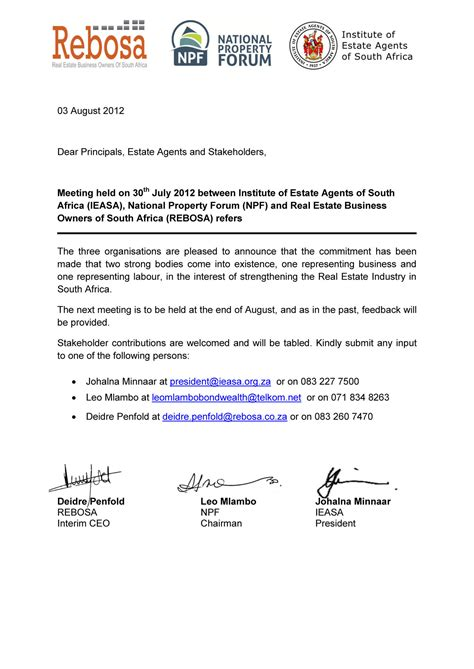business letter format south africa sample business letter