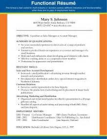 functional resume sles for stay at home sales functional resume