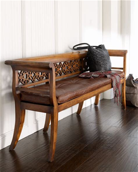 wooden settee bench quot leighton quot wood leather settee traditional indoor