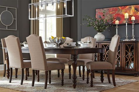 baxenburg brown extendable rectangular dining table