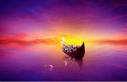 Purple Sunset Sunrise Dreams Romantic Rose Boat