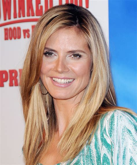 heidi klum long straight casual hairstyle dark blonde
