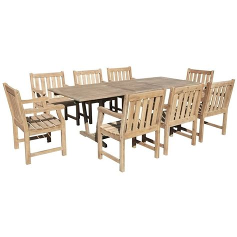 9 extendable patio dining set in gray v1294set20
